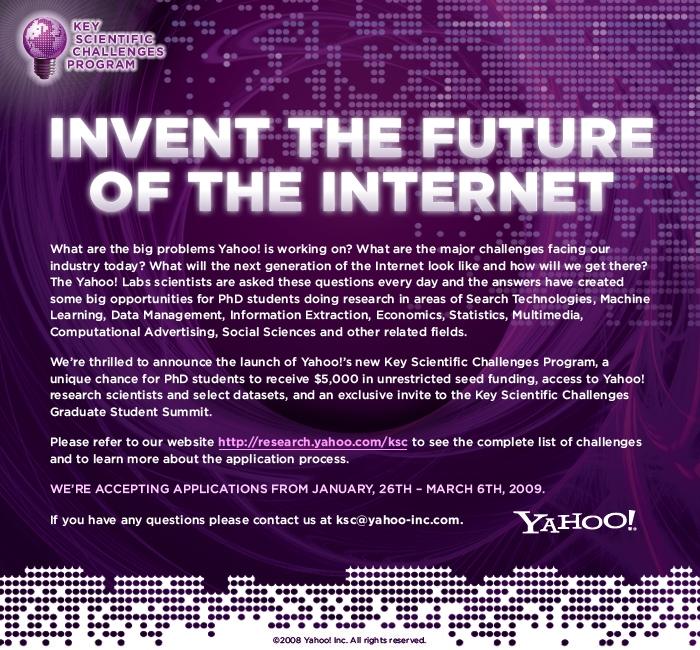 Yahoo! Key Scientific Challenges Program 2009