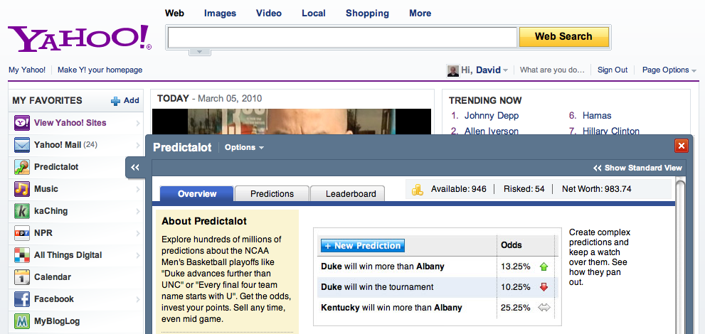 Predicalot app on the Yahoo! home page