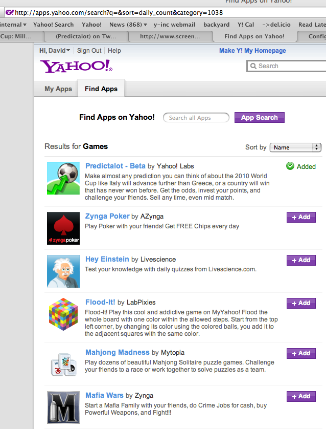 predictalot most popular game app on yahoo 2010-06