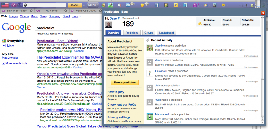 playing predictalot from the yahoo! toolbar