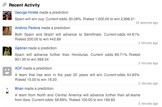 Predictalot recent activity screenshot 2010-06-11 18:45