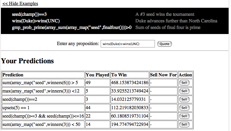 Screenshot of alpha Predictalot: PHP + YAP
