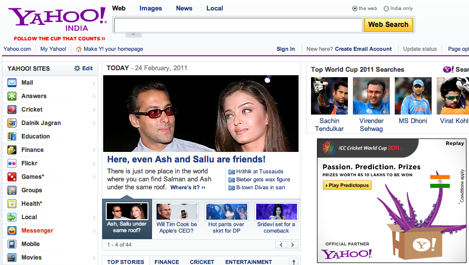 predictopus ad on Yahoo! India homepage 2011/02/24