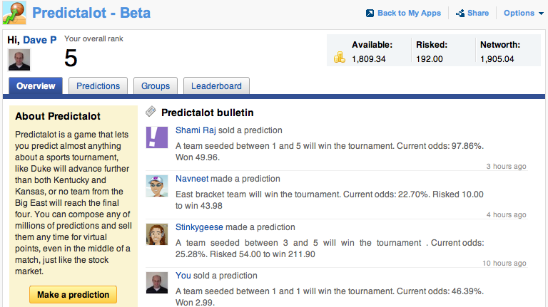 Yahoo! Labs Predictalot version 0.3 overview tab screenshot