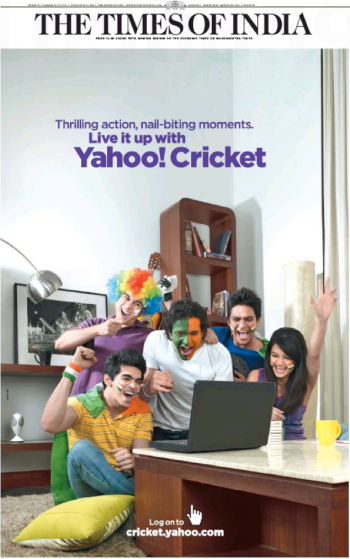 Page 1 of two full-page Yahoo! Cricket ads in the Times of India, p. 31, 2011/03/30
