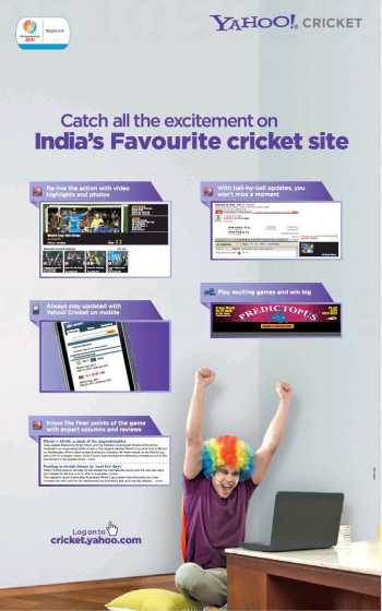 Predictopus on Page 2 of two full-page Yahoo! Cricket ads in the Times of India, p. 32, 2011/03/30