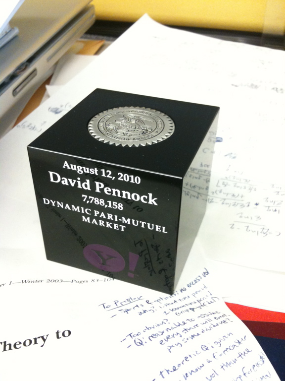 David Pennock&#039;s dynamic parimutuel market (DPM) patent cube - 4/2011