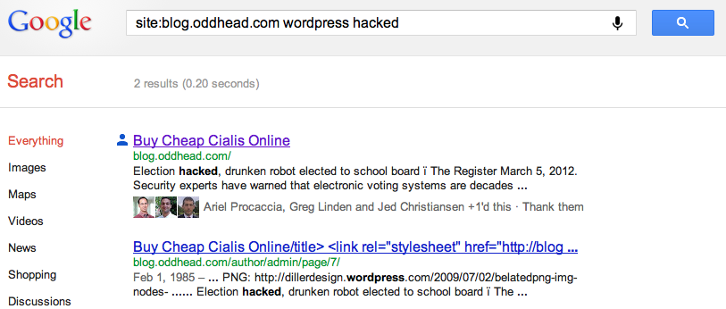 Oddhead Blog hacked again: Spam titles in Google&#039;s cache 2012-04-27