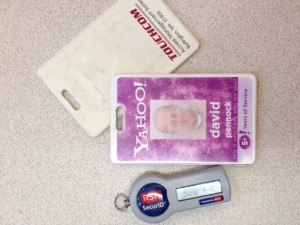 Last day: Turning in my Yahoo! badge after 8 or 10 years, depending how you count