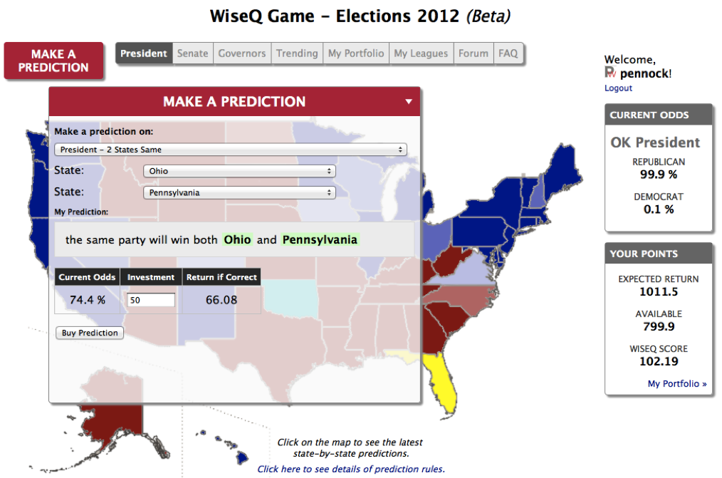PredictWiseQ Make-a-Prediction screenshot October 2012