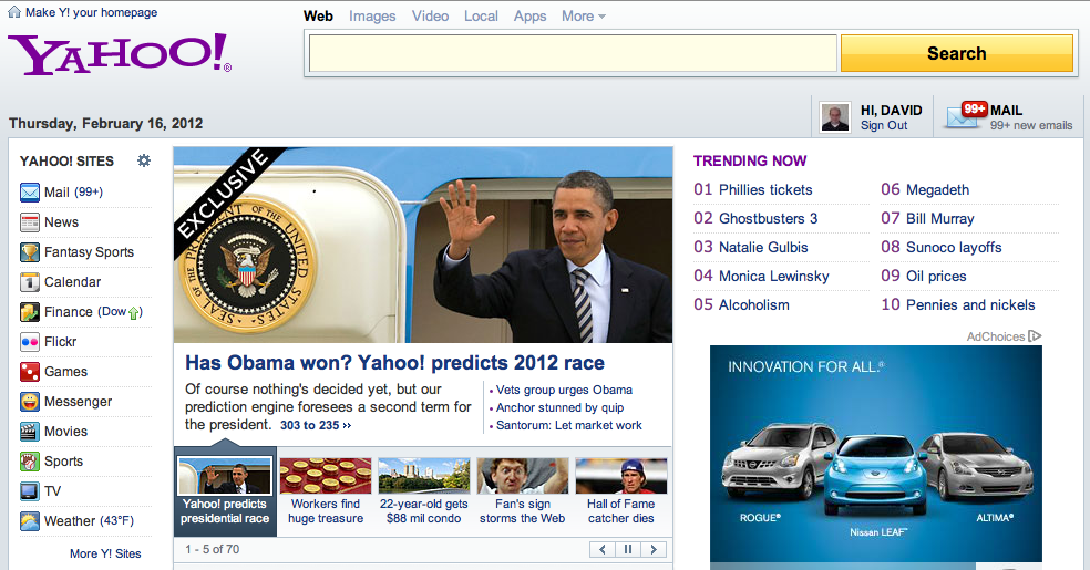 The Signal 303 prediction &quot;Exclusive&quot; top banner item on Yahoo.com 2012-02-16
